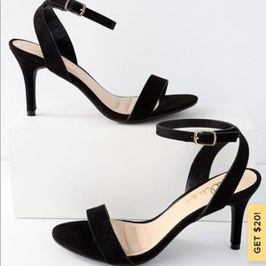 Lulu's hunter black suede ankle strap heels